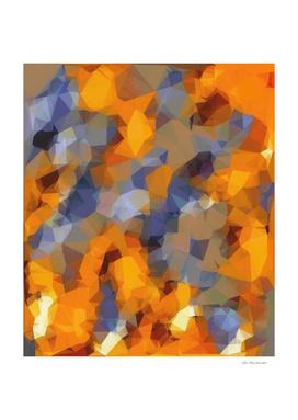 psychedelic geometric polygon pattern in orange brown blue