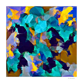 psychedelic geometric polygon abstract pattern in green blue