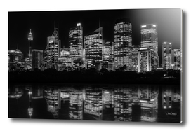 Sydney Waterfront at Night in black and white