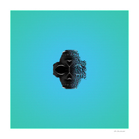 fractal black skull portrait with blue abstract background