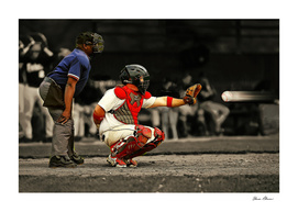 90 MPH Baseball Heading Toward Catcher and Ump