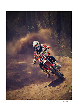 Dirt Biker Over the River and Through the Woods