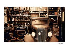 Copper Antique Car in Garage