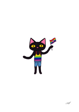 Black Cat Waving Pride Flag