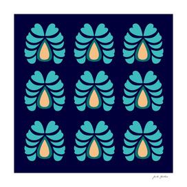 Morocco handdrawn Art : Ethno Flowers blue