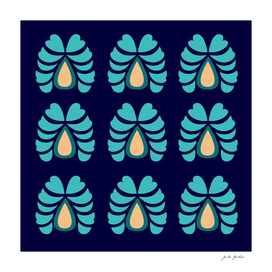 Morocco handdrawn Art : Ethno Flowers blue