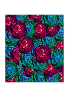 closeup blooming roses in red blue and green