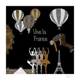 Vive La France (On Black Background)