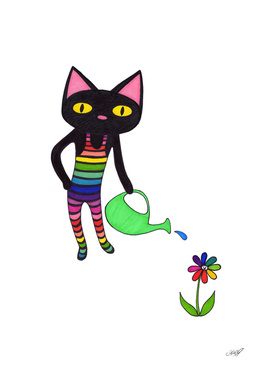 Black Cat Wearing Rainbow Unitard and Gardening