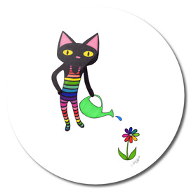 Black Cat Wearing Rainbow Unitard and Gardening