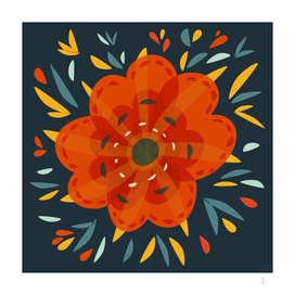 Whimsical Decorative Orange Flower
