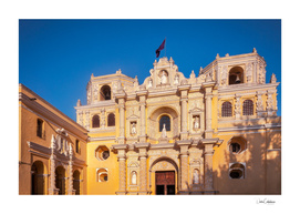 Sunset light on the facade of La Merced Church in Antigua