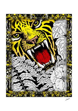 Wild Tiger Roar Doodle Art