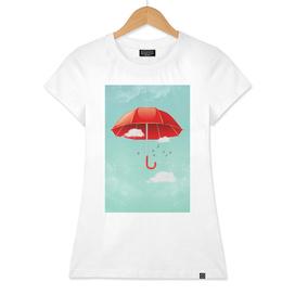 Teal Sky Red Umbrella