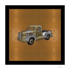 Dad's Old Truck (Gold Leaf Background)