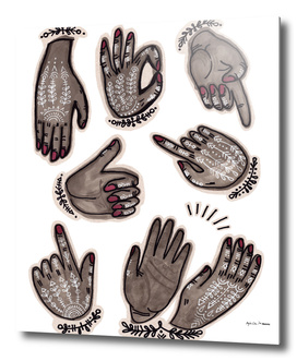 hand gestures and white henna tattoo