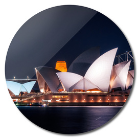 The White Shell Roofs of Sydney Opera House at Night