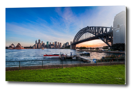 Sydney Harbour view at sunset from North Sydney