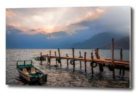 Sun beams at Sunset on Lake Atitlan, Guatemala