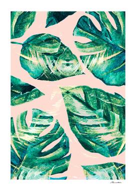 Leaf watercolor pastel