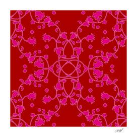 Pink on Red Art Nouveau Floral