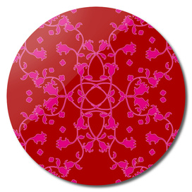 Pink on Red Art Nouveau Floral