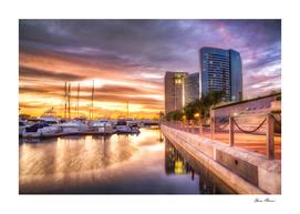 Sunset at City Harbor San Diego California
