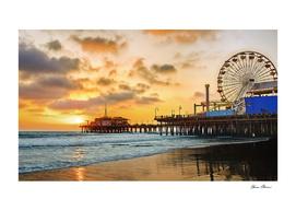 Sunset at Santa Monica Pier California