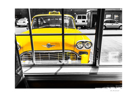 vintage yellow taxi car with black and white background