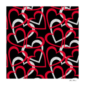 Scattered Red & White Ornate Filigree Hearts on Black