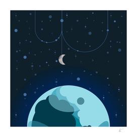 Moon & Planet Blue