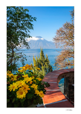 View from a charming terrace on the shore of Lake Atitlan