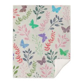 Watercolor Flowers & Butterfly