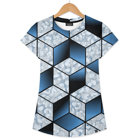 Abstract Blue Cubic Effect Design