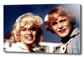 "Marilyn Monroe & Jack Lemon on the set of ""Some Like It Hot"""