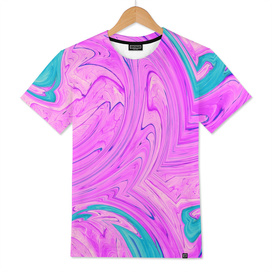ocean wave pattern graffiti painting abstract in pink blue