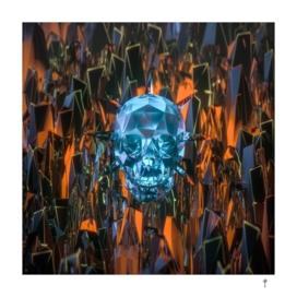 Skull on orange