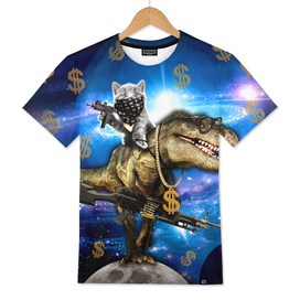 Cat Kitty Travel through Galaxy on Dinosaur T-rex