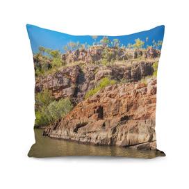 Sandstone cliffs panorama at Katherine Gorge, Australia