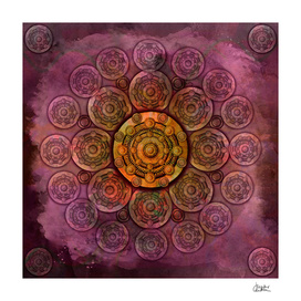 """Purple Mulberry violet shades & Gold Metal Mandala"""