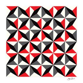 Geometric Pattern #25 (black red diamonds)