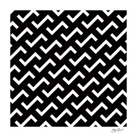 Geometric Pattern #36 (black white S shape pattern)