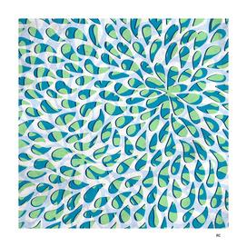 Organic Petals Pattern Blue Green