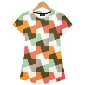 Geometric Pattern #56 (mint orange red)