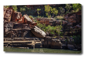 Rocky cliff face at Katherine River Gorge, Australia