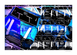 psychedelic blue sport car abstract background