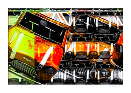 psychedelic orange sport car abstract background