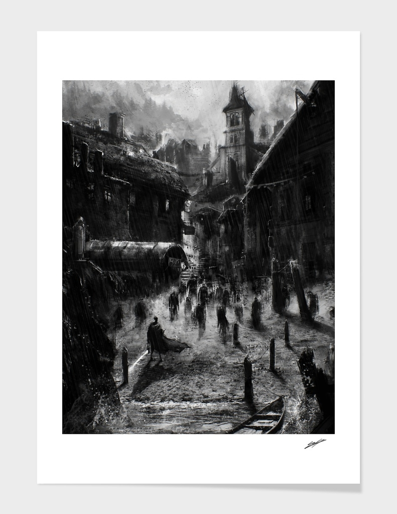 Hp Lovecraft's Innsmouth (black and white version) main illustration