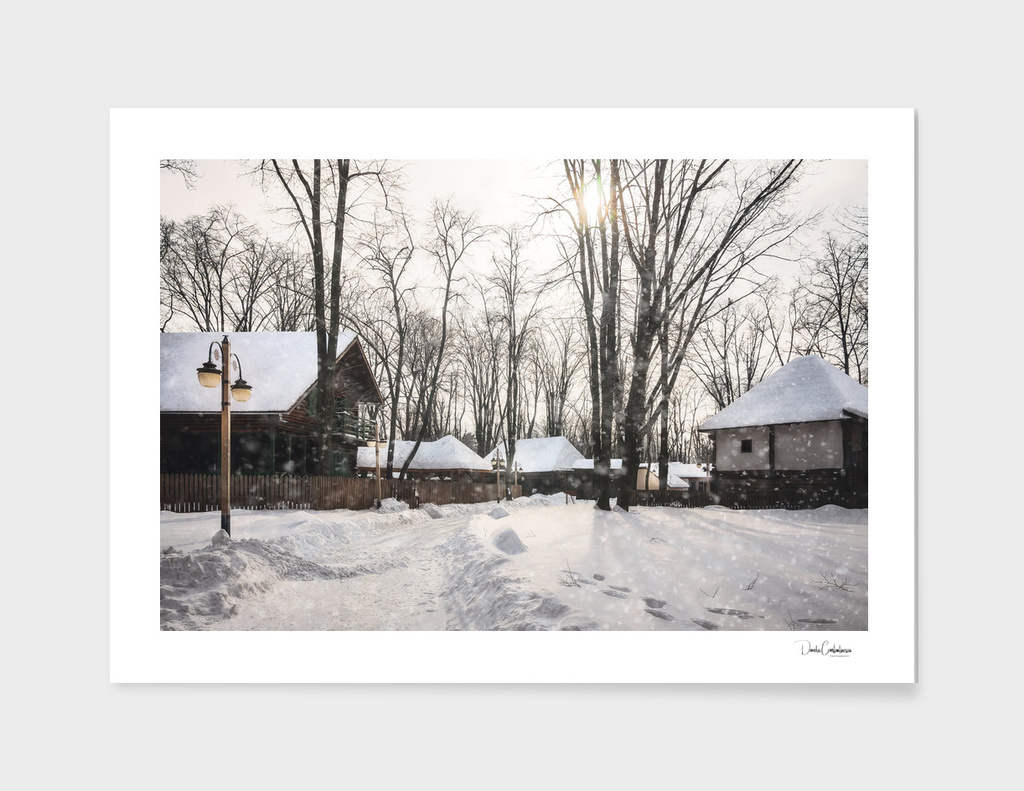 Snowfall on a road at the Village Museum in Bucharest