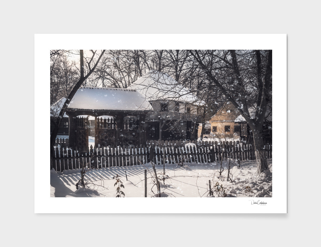 Snowfall in an old Romanian Village